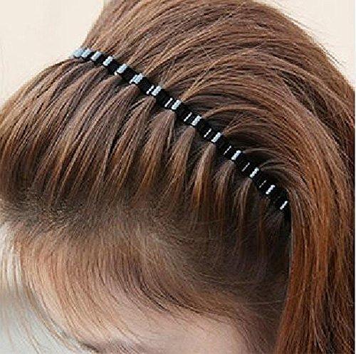HugeStore 5 Stück Unisex Schwarz Metall Haarreifen Stirnband Haarspange Haarband