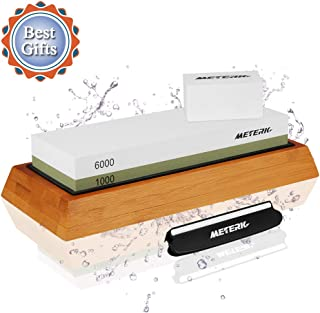 Knife Sharpening Stone,Meterk 2-Sided Whetstone Set 1000/6000 Grits Knife Stone Sharpener Kit with Non-slip Bamboo Base, Angle Guide, Flattening Stone for Home & Kitchen