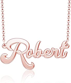Moonlight Collections Personalized Name Necklace 10k Rose Gold Plated Sterling Silver Custom Nameplate