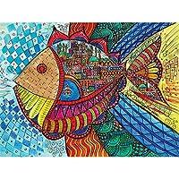 5Dダイヤモンド絵画、フルキットDIYラインストーン刺繡クロスアーツクラフトクリスタルラインストーンダイヤモンドホームウォールデコレーション-抽象魚-50x70cm