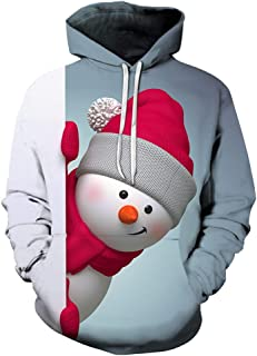 YUPENG Men's Christmas Sweater Snowman Print Men's Unisex Hooded Sweater 3D Printing Hoodie Sweatshirt Men Long Sleeve Chr...