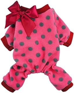 Fitwarm Cute Ribbon Polka Dots Fleece Pet Dog Coats Pajamas Soft Pjs Winter Clothes