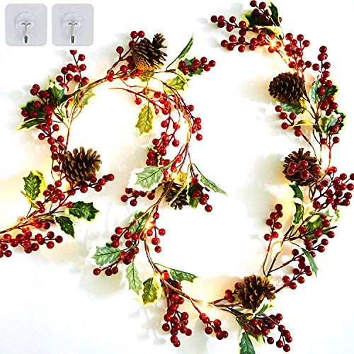6.5FT Red Berry Christmas Garland Preload 20 Warm LED Lights Decor Christmas Indoor Outdoor Artificial Garland with Pine Cone and Green Leaves Decor Home Fireplace Stairs Table Winter Holiday New Year