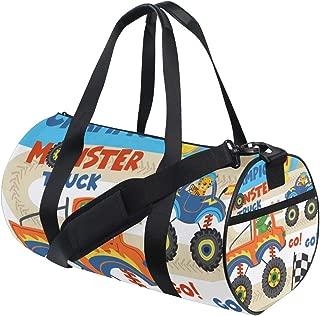 Travel Duffel Bag Monster Trucks Animals On Races Vector Sports Lightweight Canvas Gym Luggage Handbag Overnight Weekend Bag for Men Women