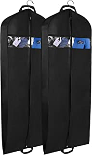 "Univivi Garment Bag for Travel and Storage 60"" Breathable Suit Dress Black Garment Cover Gusseted ,with Clear Window and One Zipped Pockets,Pack of 2"