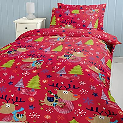 Catherine Lansfield Double Bed Christmas with Rudolph Duvet Set, DOUBLE SIZE