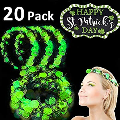 20 Pack St. Patrick's Day Green LED Headband Flower Crowns Decorations, St. Patrick's Day Accessories Adjustable Carnival Party Favors Gifts for St Patricks Day Women Girls Parade Holiday Party