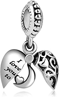 I Love You To The Moon And Back Charms Openable Charms Beads for Mother's Day