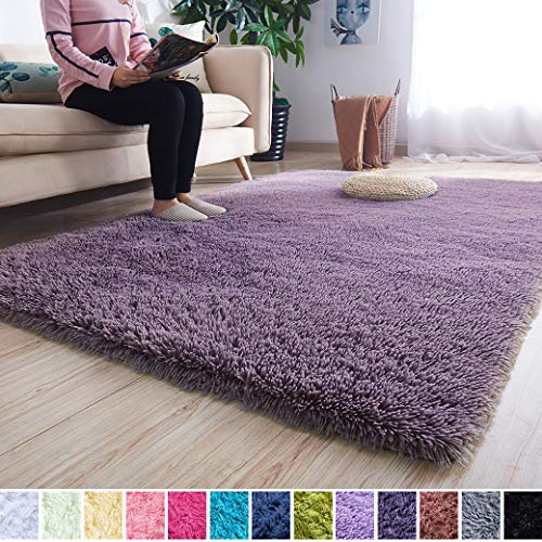 Noahas Super Soft Modern Shag Area Rugs Fluffy Living Room Carpet Comfy Bedroom Home Decorate Floor Kids Playing Mat 4 Feet by 5.3 Feet, Grey-Purple