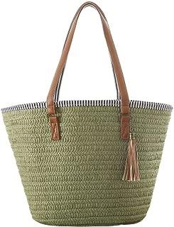 JOSEKO Straw Beach Bag, Summer Handbags Shoulder Bag Tote with Leather Handles Tassels Women Bag