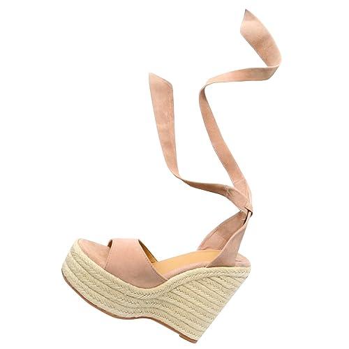 34fce1a24b9 Syktkmx Womens Lace Up Platform Wedge Espadrille Heel Peep Toe Slingback  D Orsay Sandals