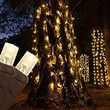 50 Warm White LED StretchNet Pro Expandable Christmas Net Lights for...