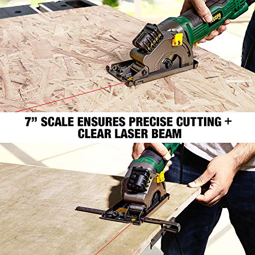 """Circular Saw, TECCPO 4.8Amp 3700 RPM Compact Mini Circular Saw 3-3/8"""" with Laser Guide, 3 Saw Blades, Scale Ruler and Pure Copper Motor, Ideal for Wood, Tile, Aluminum and Plastic Cuts - TAPS22P"""