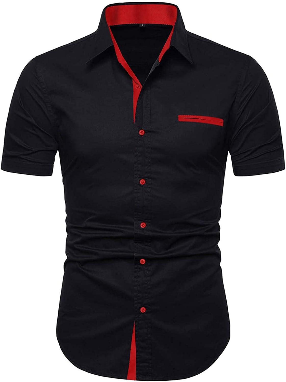NeedBo San Antonio Mall Mens Short Sleeve Dress Slim-Fit Ca Contrast Inner Popular products Shirts