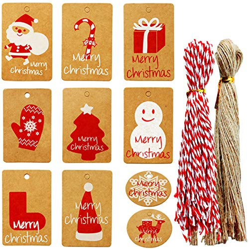 200PCS Christmas Tag with String,Biluer Kraft Paper Tag Craft Tags for DIY Xmas Holiday Present Wrap Stamp and Label Package Name Card