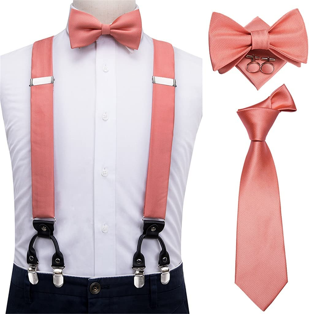 SLATIOM Men's Sling Set Vintage Fashion Men's Leather 6 Clip-on Suspenders and Bow Tie (Color : A, Size : Adjustable)