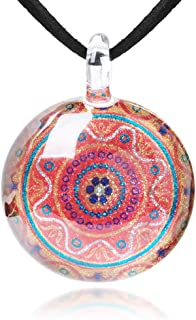 Hand Blown Glass Jewelry Colorful Mandala Round Pendant Necklace 17-19 inches Leather Cord