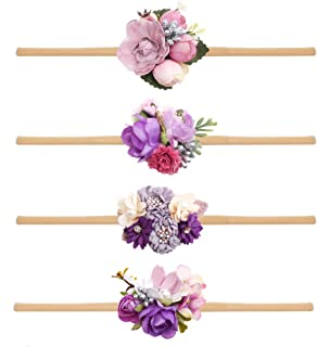 cherrboll 4pcs Baby Girl Headbands Flowers, Super Soft & Stretchy Nylon Floral Hairbands for Newborn Toddler