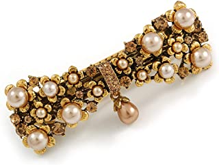 Avalaya Vintage Inspired Caramel Faux Pearl, Topaz Crystal Bow Barrette Hair Clip Grip in Aged Gold Finish - 85mm Across