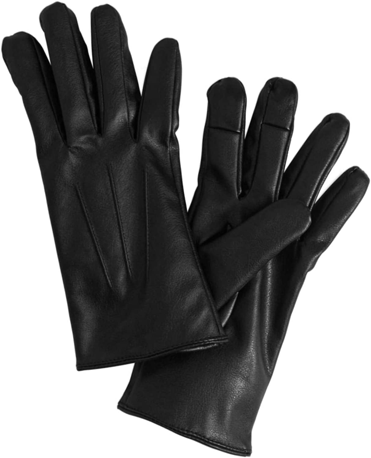 Womens Black Leather-look Text & Tech Gloves Touch Screen Compatible