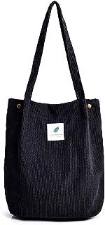 Hallolife Cord Tasche Damen Umhängetasche Shopper Casual Handtasche groß Chic Schulrucksack für Alltag Büro Schulausflug E...
