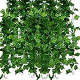 Huryfox Paquete de 12 Enredaderas Artificiales para Decorar el hogar, Plantas Artificiales, guirnaldas de Hiedra Verde sintética, decoración de Pared para Interiores y Exteriores