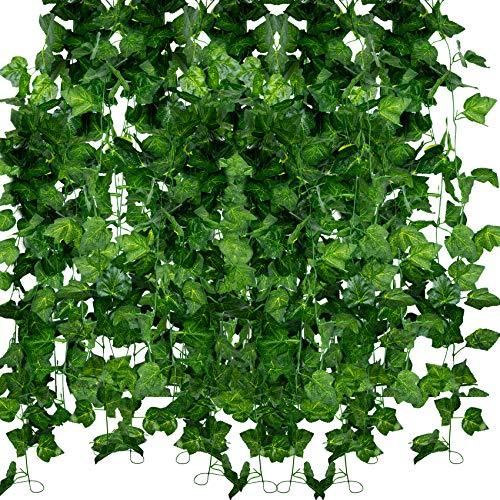 ASHINER Artificiale Edera Piante Finta Verde Ghirlanda Vite Decorazione per esterni Set di 12 Pezzi Per Matrimonio Festa Casa Finestra Decorazione del balcone del giardino della parete