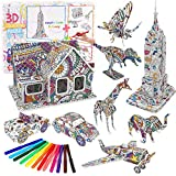 3D Coloring Puzzle Set, (9 Packs) Arts and Craft for Boys and Girls, Fun Educational Craft Kit for Kids, Creativity Gift for Kids, Art Coloring Painting 3D Puzzle for Kids Age 7 8 9 10 11 12
