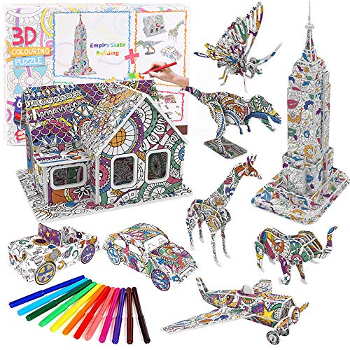 3D Coloring Puzzle Set, Arts and Craft for Boys and Girls, Fun Educational Craft Kit for Kids, Creativity Gift for Kids, Art Coloring Painting 3D Puzzle for Kids Age 7 8 9 10 11 12 (9 Packs)