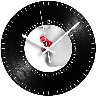 GYJCD Labio Rojo Reloj De Registro De Vinilo Vintage Números Árabes Silenciosos Antiguos Relojes De Pared Digitales Decora...