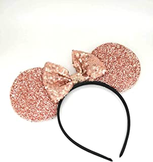 Rose Gold Mickey Ears, Sparkly Mickey Ears, Rose Gold Minnie Ears, Rose Gold Ears, Handmade, one Size fits All
