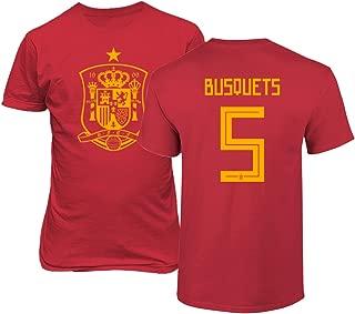 Spain 2018 National Soccer #5 Sergio BUSQUETS World Championship Men's T-Shirt