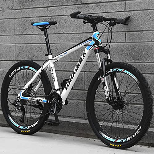 26 inch Mountain Bike - MJH-02 24 Speed Bicycle Full Suspension Mountain Trail Bikes for Adult Mens, High-Carbon Steel MTB with Dual Disc Brake - Personalities & Cool