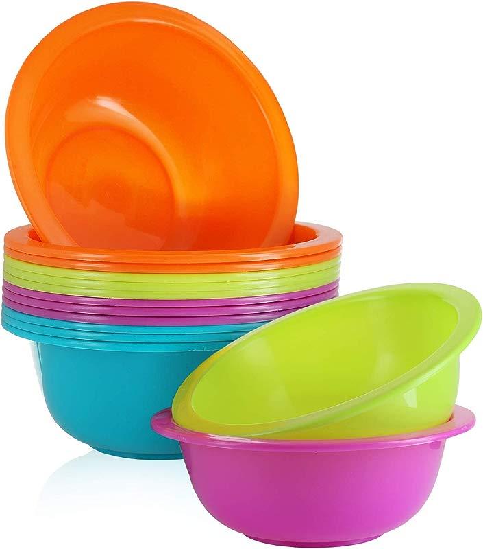 28 Oz Plastic Cereal Bowls Set Of 12 BPA Free Reusable Colorful Kids Bowls For Cereal Snack Soup Salad Dessert Fruit Shatterproof Microwave And Dishwasher Safe