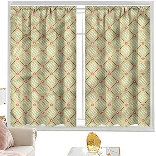 Cortinas de bloque para dormitorio, diseño de cuadros vintage, diagonales de 100 cm de ancho x 200 cm de largo y 200 cm de largo