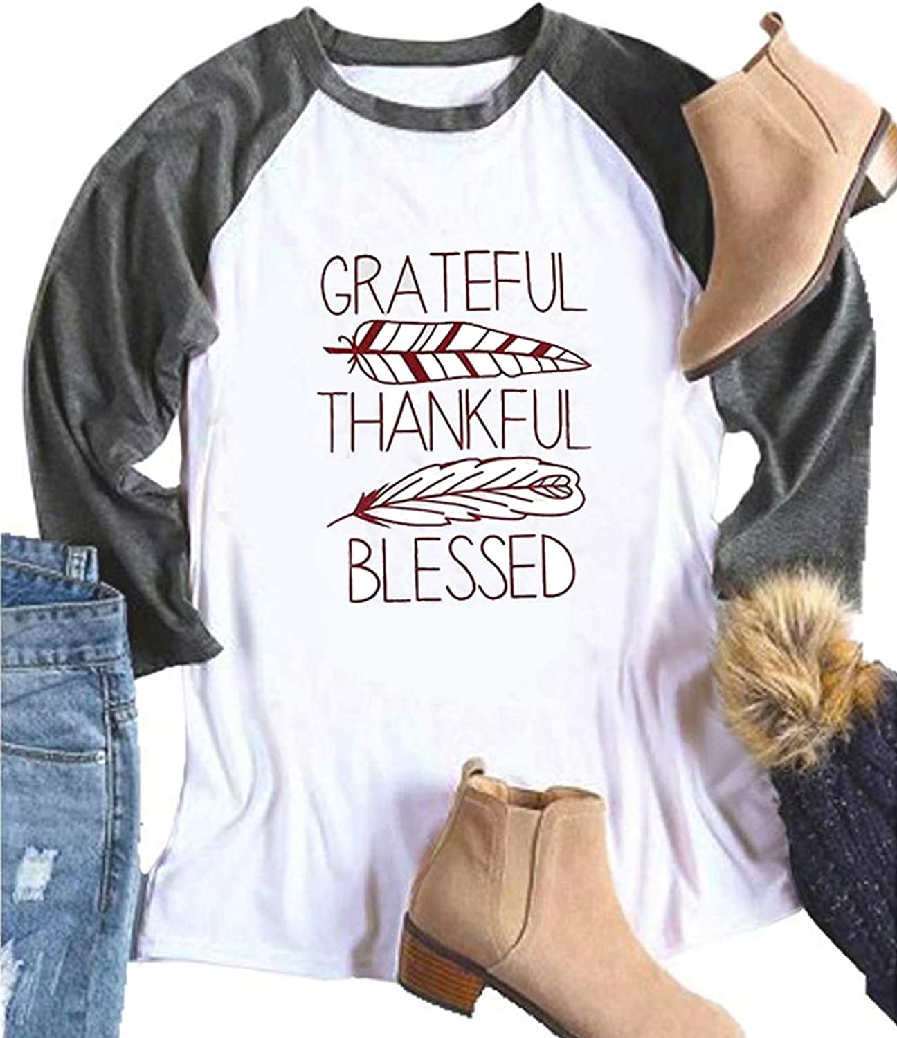 DUTUT Grateful Thankful Blessed T Shirts Womens Thanksgiving 3 4 Sleeve Feather Print ONeck Raglan Tops Tee