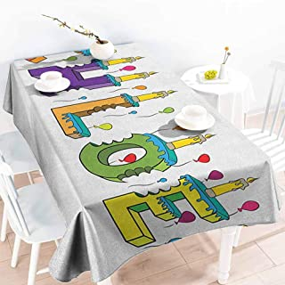 EwaskyOnline Large Rectangular Tablecloth,Chloe Lettering with Cheerful Bitten Cake Candles Girly Birthday Party Design First Name,Dinner Picnic Table Cloth Home Decoration,W60x84L, Multicolor