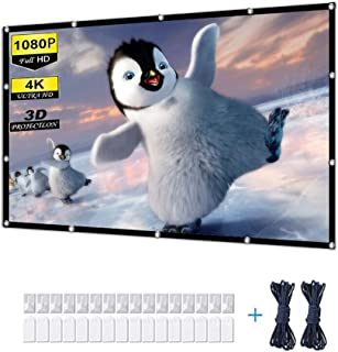 Video Projection Screens, 4K Projector Screen 100 inch Outdoor Movie Screen 16:9 Foldable and Portable Anti-Crease Indoor ...