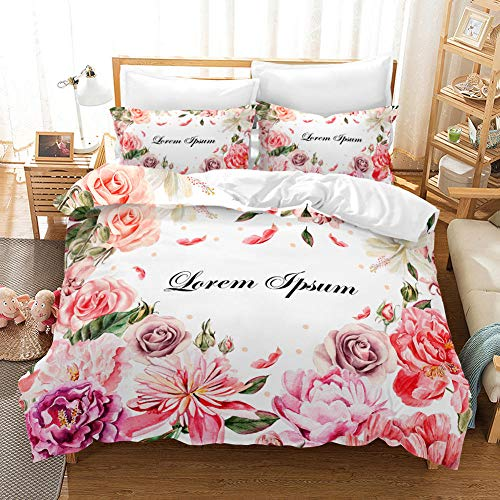 XLLJA Double Bed,3D Rose Flower Bedding Set, Duvet Cover and Pillowcase, Single, Double, Queen, King-1902_224*260cm(3pcs)