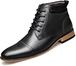 U-lite Mens Five Eyes Lace Up Side Zipper Ankle Chukka Boots, Oxford Booties for Men