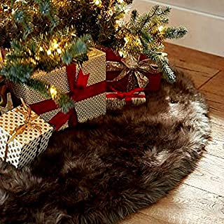 Fur Accents Shaggy Brown Bear Skin Faux Fur Christmas Tree Skirt- Plush Soft Furry Christmas Fun Christmas Keepsake Collection (60'' Diameter)