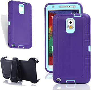 Note 3 Case, Harsel Heavy Duty Tough Rugged Defender Armor Scratch Resistant Full Body Protective Military Grade w' Belt Clip Built-in Screen Protector Case Cover for Galaxy Note 3 (Purple Aqua)
