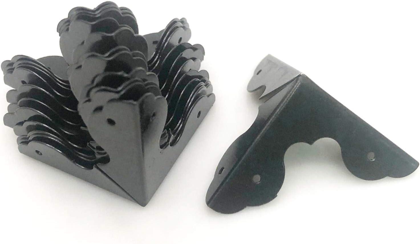 XMHF 12PCS Box Corner Protector Triangle Metal Case Wooden Box Edge Safety Guard for Furniture Decor 1-1/4