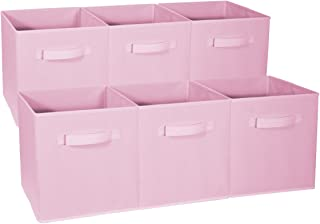 Sorbus Foldable Storage Cube Basket Bin - Great for Nursery, Playroom, Closet, Home Organization (Pastel Pink, 6 Pack)