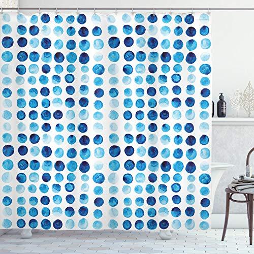 ABAKUHAUS Blau Duschvorhang, Hand Gezeichnete Kreise Zellen, Hochwertig mit 12 Haken Set Leicht zu pflegen Farbfest Wasser Bakterie Resistent, 175 x 180 cm, Blau Hellblau