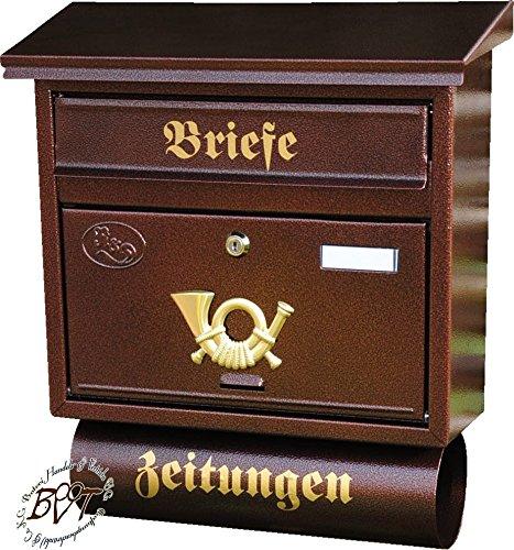 Stabiler Briefkasten, Premium-Qualität, mit Schutzlackierung FG/c groß in kupfer kupferbraun braun Zeitungsfach Zeitungen Post antik Mailbox Schild