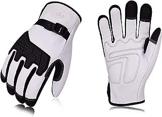 Vgo 3Pairs Premium Goat Leather Work Gloves (Size L,White,GA1012)
