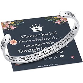 Whenever You Feel Overwhelmed Remember Whose Straighten Your Crown Bracelet, Engraved Inspirational Bracelets Personalized Gift for Mom, Daughter, Granddaughter, Sister, Best Friend, Women and Girls