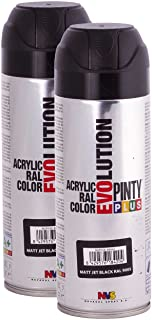 Fast Dry, Low Odor, Low VOC - Acrylic Spray Paint PintyPlus Evolution - Pack of 2 (Matt Jet Black)