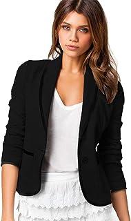 Pingtr Women's Boyfriend Blazer Tailored Suit Jacket Coat 3/4 Sleeve Work Office Lightweight Open Front Jackets Cardigan L...